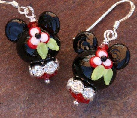 Tropical Minnie Mouse Style Disney Inspired Lampwork Bead DeSIGNeR Earrings Hawaii Lei Sterling