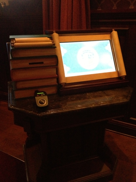 A self-order kiosk with RFID reader at Be Our Guest