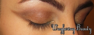 Apply Bewitch (warm chocolate brown) to the crease and bottom lash line, winging it out past the brow
