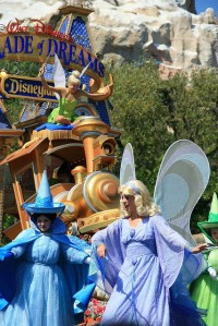 Blue Fairy, Merryweather, and Tink in the Disneyland Parade